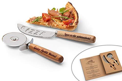 SNEG Pizza-Schneide-Set mit Gravur (Pizzamesser +...