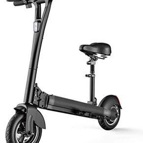 LAZNG Portátiles Scooter eléctrico for Adultos, a Distancia antirrobo, Asiento con suspensión, Doble Freno de Disco…