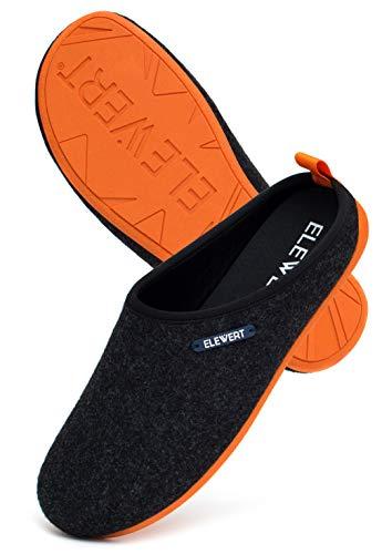 ELEWERT® – Hausschuhe für Herren/Damen - Natural - Pantoffeln/Slipper – für Drinnen und Draußen - herausnehmbares Fußbett - rutschfeste Gummisohle - Schwarz/Orange, EU 37