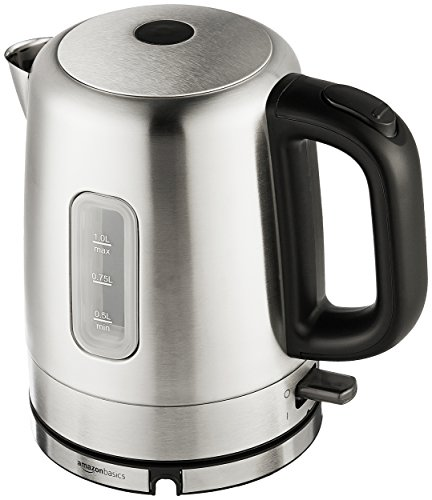 AmazonBasics Stainless Steel Portable Electric Hot Water Kettle - 1 Liter, Silver