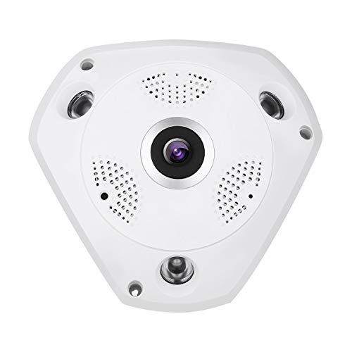 Dericam Panorama WiFi Kamera,1536P Fischaugenobjektiv WiFi IP Kamera 360 ° Panorama überwachungskamera,Nachtsicht bis zu 20 Metern,externer TF Kartensteckplatz Bis zu 64 GB,F3 Weiß