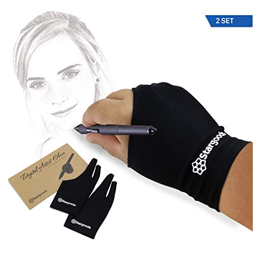 Digital Artist Glove for Graphic Drawing Tablet, Two Finger Sketch Gloves, Man, Set of 2