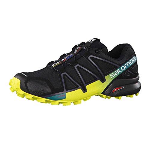 Salomon Men's Speedcross 4 Trail Running Shoes, Black (Black/Everglade/Sulphur Spring), 7.5 UK
