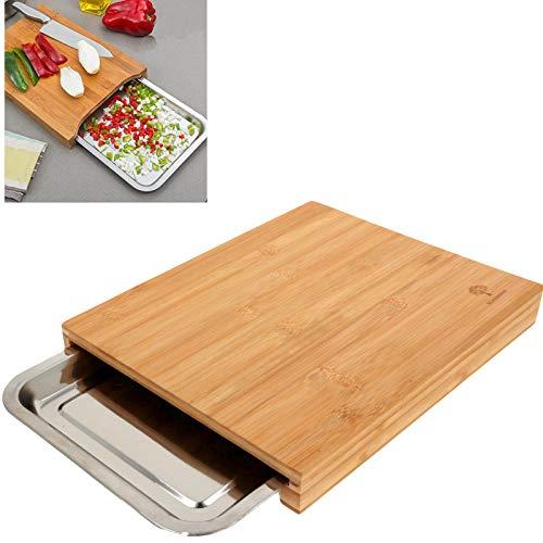Smartweb Bambus Schneidbrett mit Auffangschale 35 x 24 x 5cm Schneidunterlage für Fleisch, Gemüse und Käse. Professionell, langlebig und widerstandsfähig