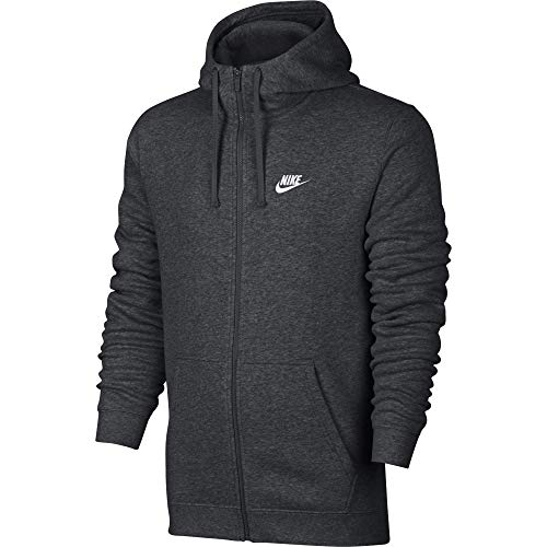 Men's Nike Sportswear Club Full Zip-Up Hoodie, Fleece Hoodie for Men with Paneled Hood, Charcoal Heather/Charcoal Heather/White, L