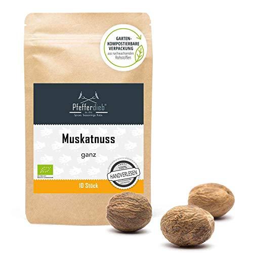 Muskatnuss ganz, Muskat BIO, handverlesen, A-Qualität erntefrisch aus Sri Lanka, laborgeprüft 10 Stück - Pfefferdieb®