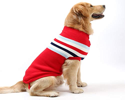YAODHAOD Maglioni per Cani a Collo Alto e Collo Alto a Righe per Cani e Cani, Caldo Maglione per l'autunno Inverno (S, Strisce Rosse)