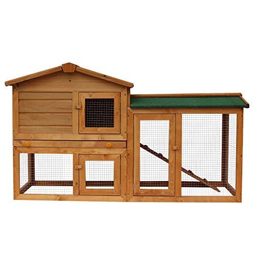 Pawhut Hasenstall Hasenkäfig Kaninchenstall Kaninchenkäfig Kleintierstall Hasen Stall mit Freigehege 145 x 45 x 85 cm