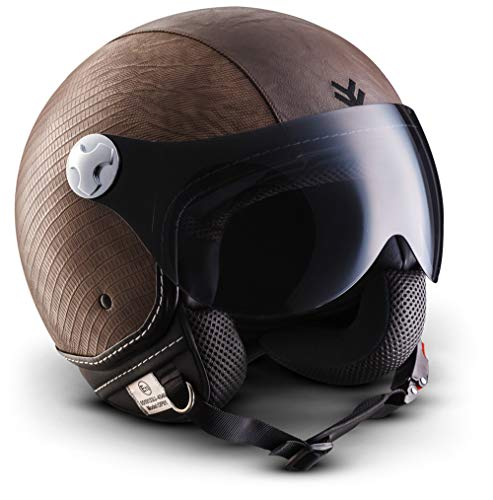 "Armor · AV-84 ""Ranger"" (brown) · Casco moto Demi Jet · Helmet Retro Scooter motocicleta Urbano Urban · ECE certificado · Visor · Click-n-Secure™ Clip · Bolsa de transporte · S (55-56cm)"