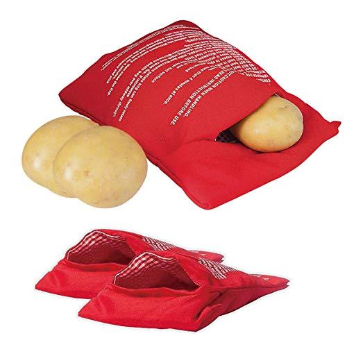 YIQI Bolsa de Patata para microondas, maíz Mongol, Pan de un día, Bolsa para cocinar Tortillas, Lavable y Reutilizable, Rojo 20 * 25 cm (Paquete de 2)