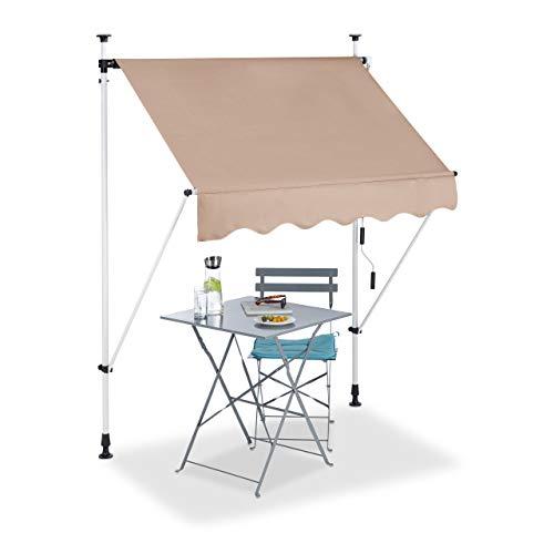 Relaxdays, beige Klemmmarkise, Balkon Sonnenschutz, einziehbar, Fallarm, ohne Bohren, höhenverstellbar, 150 cm breit