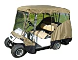 Formosa Covers Premium Tight Weave Golf Cart Driving Enclosure New YKK Door Zipper for 4 Passenger roof up to 80' L, fits Club car, EZGo and Yamaha G Model - All Weather