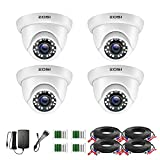 ZOSI 4 Pack 2.0MP HD 1080P Security Cameras Kit TVI/CVI/AHD Indoor Outdoor 80ft Day Night Vision CCTV Dome Home Cameras For 720P/1080N/1080P/5MP/4K HD-TVI AHD CVI Analog DVR Systems(White)