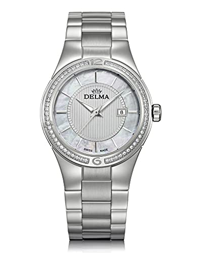 Delma - Damenuhr mit Diamanten, Quarz, analog, Metallband