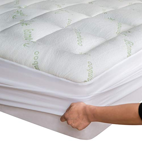 Niagara Sleep Solution Bamboo Mattress Topper Cover Queen with 1 Pillow Protector Cooling Pillow Top Mattress Pad Breathable Extra Plush Thick Extra Deep Fitted 20 Inches Rayon