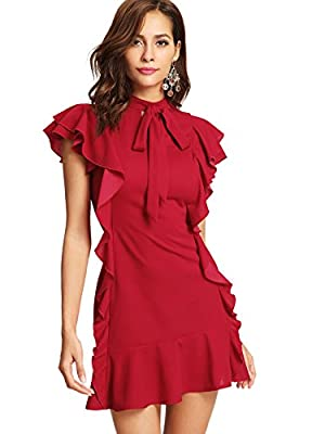According to customers reviews, we have extended the length of the dress, and make the size more suitable, please order at ease Specil thin lightweight breathable fabric, comfortable for summer Short sleeve, tie neck, solid color, above knee short dr...