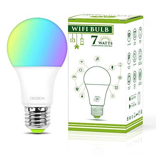 Bombilla Foco Inteligente OIOSEN, RGBCW Wi-Fi 7W foco multicolor compatible con Alexa y Google Home
