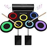 SUNKOO Electronic Drum Set for Kids, Adult Beginner Pro MIDI Drum Kit, Roll Up Practice Pad Kit with Headphone Jack, Built-in Speaker, Drum Pedals, Drum Sticks, Great Holiday Birthday Gift for Kids