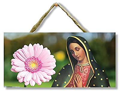Beautiful Crafted Sign of the Virgen de Guadalupe for hanging in your bedroom, living room, kitchen, or any other room in your house. Comes with rope attached to sign so all you have to do is decide where you want to hang the sign. Wood sign is 4 inc...