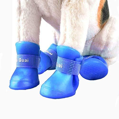 VICTORIE Hundeschuhe Pfotenschutz Gummi Regenschutz wasserdicht mit Anti-Rutsch Sole Outdoor für Haustier Kleiner Mittlere große Hunde Blau 4 Stücke(L: 4.7 X 5.7 cm)