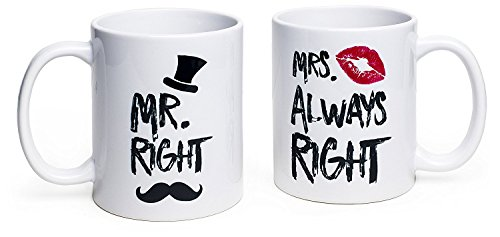 Funny Wedding Gifts - Mr. Right and Mrs. Always Right Coffee...