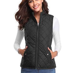 fuinloth Women's Quilted Vest, Stand Collar Lightweight Zip Padded Gilet 33