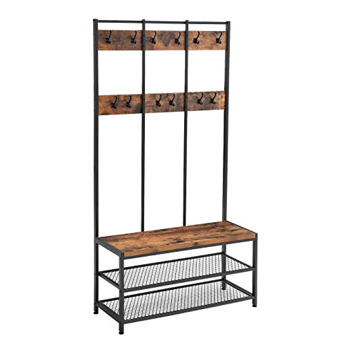 VASAGLE Large Coat Rack Stand, Coat Tree with 12 Hooks and Shoe Bench in Industrial Design, Hall...