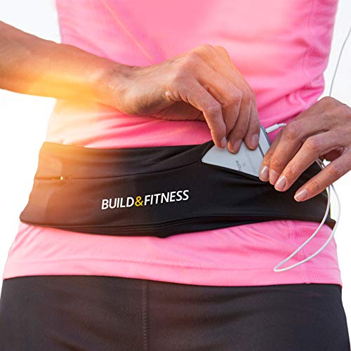 Build & Fitness Running Belt, Flip Waist Belt, Key Clip, Fits iPhone's, Samsung