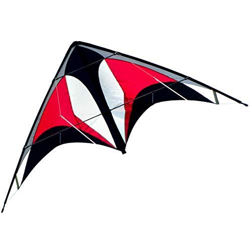 CIM Lenkdrachen - Power Hawk Red Black - für leichten bis kräftigen Wind - Abmessung: 155x75cm - inkl. Steuerleinen auf Winder mit Schlaufen (Red Black)