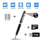 Hidden Pen Camera Spy Pen Camera HD 1080P Clip On Body Camera Mini Camera Pen 32GB SD Card with Included Wonderful Spy Gadgets for Business and Conference