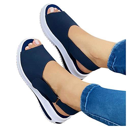 Zapatos Moda de Plataforma con Correa en T para Mujer, 2021 Primavera Retro Mocasines de Punta Descubierta Sandalias Casual Verano Alpargatas con Punta Cerrada