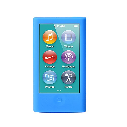 ColorYourLife iPod Nano Silicone Cases Skins Covers for New iPod Nano 8th Generation 7th Generation with 1 Screen Protector and Cleaning Wipe (Light Blue)