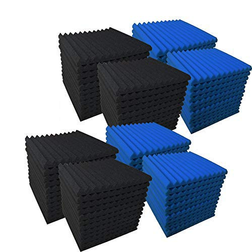 96 Pack Blue/black Absorb the echo Acoustic Foam Panel Wedge...