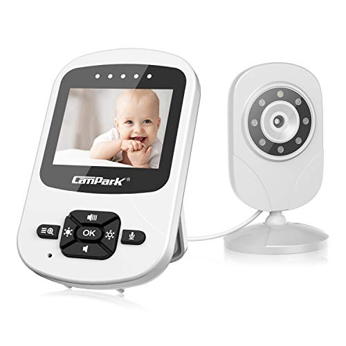Campark Video Baby Monitor with Camera and Audio Infant Digital Cam Optics with Infrared Night Vision 2.4' LCD 2.4GHz Wireless Two Way Talk Temperature Sensor VOX Auto Wake-up Multi-Camera Connection