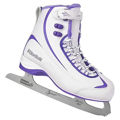 Riedell Skates - 625 Soar - Women's Soft Beginner Figure Ice Skates | White & Violet | Size 8