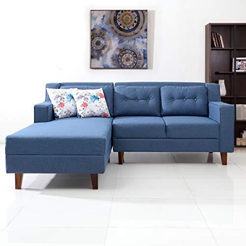 Evok Travis Fabric L-Shape Sofa Left-Light Blue