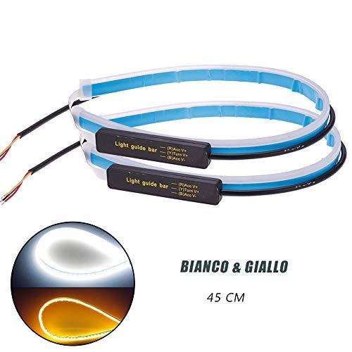 Luce di Marcia Diurna Auto 2pz 45cm 12V Striscia LED Impermeabile Flessibile Ultra Sottile Morbido Universale a Doppio Colore (BIanco & Giallo)