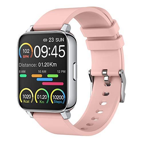 Smartwatch 1.69 Full Screen Orologio Fitness Uomo Donna Fitness Activity Tracker Smart Watch con Impermeabile IP67 Sportive Sonno Cardiofrequenzimetro da Polso Notifiche Messaggi Contapassi Rosa