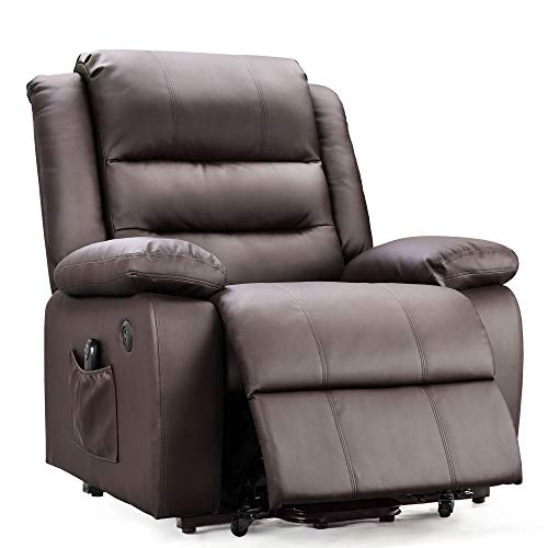 DEVAISE OKIN Dual-Motor Power Lift Recliner Chair for Elderly, Living Room Sofa Chair with Remote Control + 2 USB Ports, Faux Leather Upholstery, Dark Brown