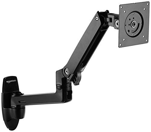 AmazonBasics Premium Wall Mount Computer Monitor and TV Stand - Lift Engine Arm Mount, Aluminum - Black