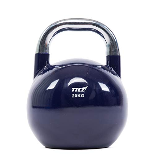 POWERT Competition Kettlebell Premium Quality Coated Steel Ergonomic Design Great for Weight Lifting Workout & Core Strength Training& Muscle Building Color Coded (F-20KG)