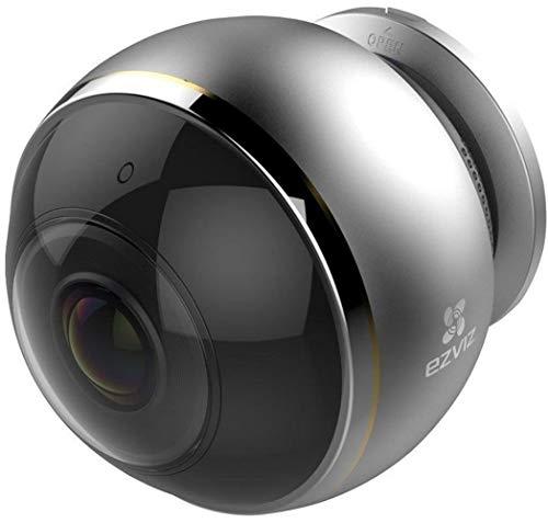 EZVIZ Mini Pano Telecamera di Sorveglianza, WiFi Videocamera IP Interno Wireless, 3 MP Panoramica Fisheye 360°, 2.4 e 5 Ghz WiFi, Visione Notturna, Servizio di Cloud, Compatibile con Alexa