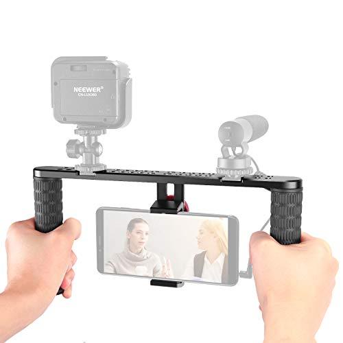 Neewer Stabilizzatore Smartphone Rig di Metallo Impugnatura con Attacco Coldshoe per iPhone XS MAX X 8 8plus / Samsungs10+ S10 S9 S8 / Huawei P30pro P30 P9 / Luci LED / Microfoni