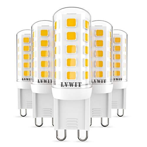 LVWIT Lampadine LED G9-3.5W Equivalenti a 40W, 400 Lumen, 3000K Colore Bianco Caldo, Nessun Lampeggio. Non Dimmerabile - Confezione da 5 Pezzi.