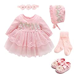 PACKAGE INCLUDING: 1 baby dress, 1 baby Bonnet, 1 headband,1 Baby Tights ,1 pair of baby shoes EXCELLENT FABRICS: Made of high quality lace tulle, soft lace, not harm to the child skin,very soft and comfortable,skin friendly and breathable. EXQUISITE...