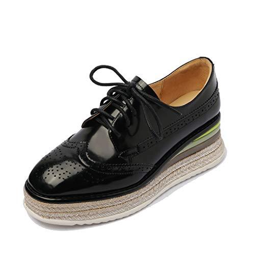 ANNIESHOE Blucher Mujer Cuero Cordones Derby Oxford Zapatos con Tacon Cuña Plataforma Primavera Otoño Negro 35CN 35EU 22.5cm