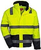 NITRAS Motion TEX VIZ - Veste Pilote de Protection Imperméable - Blouson de Travail pour Femmes et Hommes avec Capuche Rétractable - Manteau de Sécurité avec Bandes Réflectives