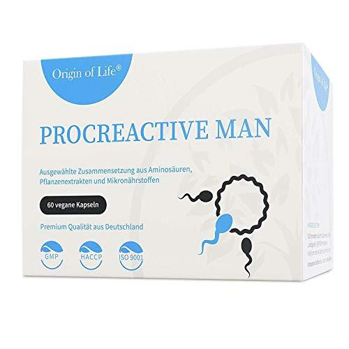 ProCreactive Man - Spermienbildung & Fruchtbarkeit - 60 Kapseln + Vegan & Hochdosiert - Kinderwunsch Mann - Laborgeprüft + Hergestellt in Deutschland - Tabletten Alternative