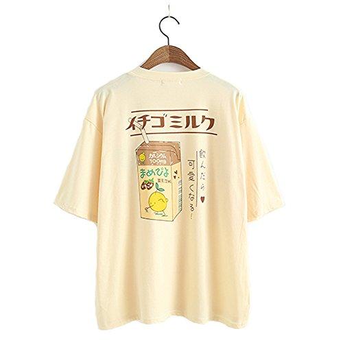 T-shirt per Donne e Ragazze, Stile Giapponese Kawaii, Maglietta Estiva, con Motivo Succo di Frutta, in Fresco Cotone Giallo Taglia unica