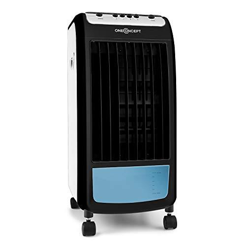 OneConcept CarribeanBlue - Rafraichisseur d'air, Ventilateur, Refroidisseur, 3 en 1, Jusqu'à 400m³/h, 3 Vitesses, Réservoir de 4L, Faible consommation : 70 Watts - Noir